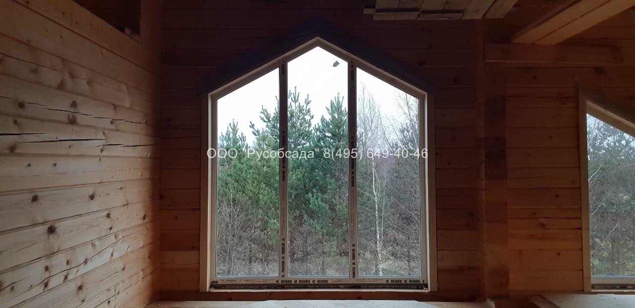 Скошенные окна в деревянный дом