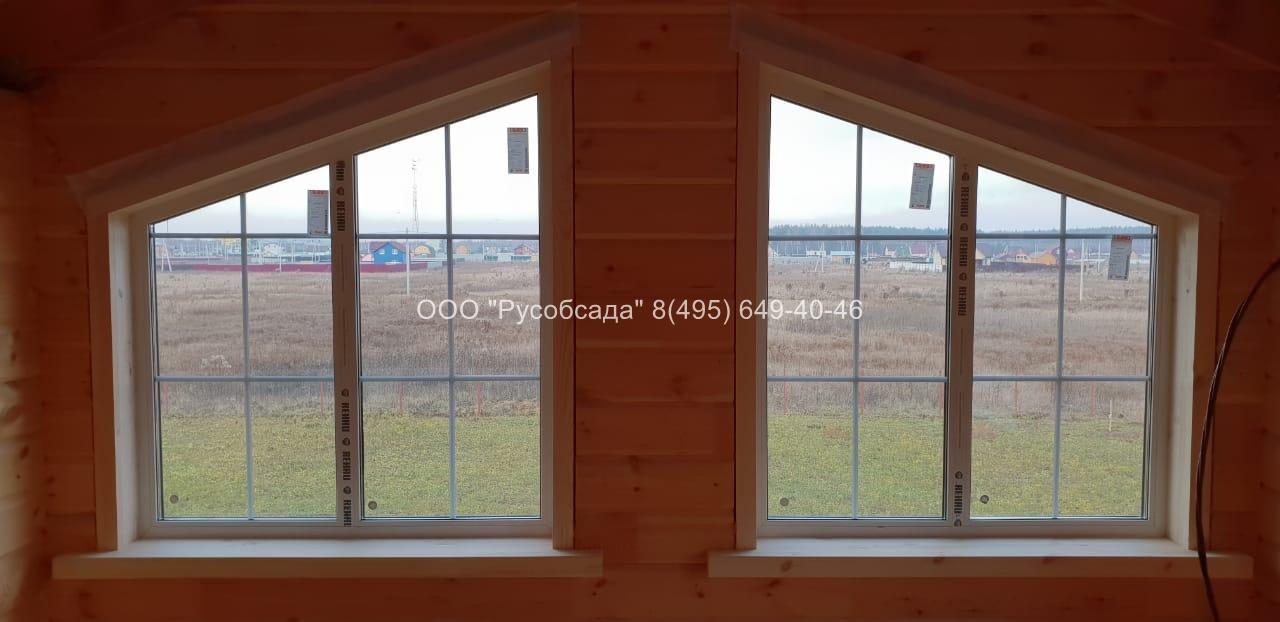 Скошенные окна в доме из бруса Павлов-Посадский район Русобсада