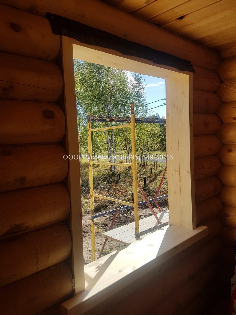 обсада окосячка окон в деревянном доме (Русобсада)